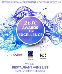 Excellence Awards 2016 winner wine list